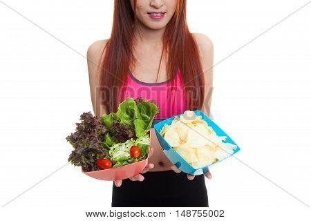 Close Up Asian Healthy Girl Salad And Potato Chips.