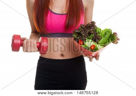 Asian Healthy Girl With Dumbbell And Salad.