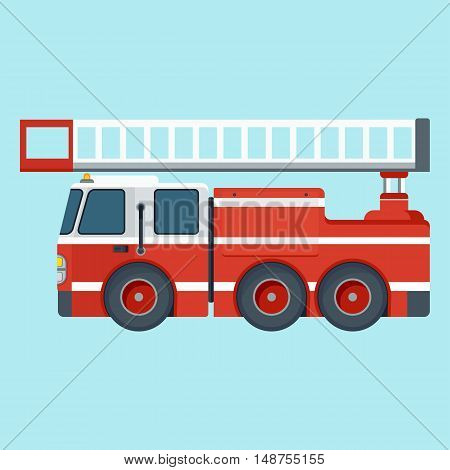 Fire Truck On Blue Background