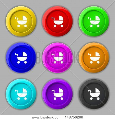 Baby Stroller Icon Sign. Symbol On Nine Round Colourful Buttons. Vector