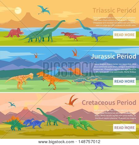 Dinosaurs flat horizontal banners set of design backgrounds with groups of giant ancient pangolins lived millions years ago vector illustration
