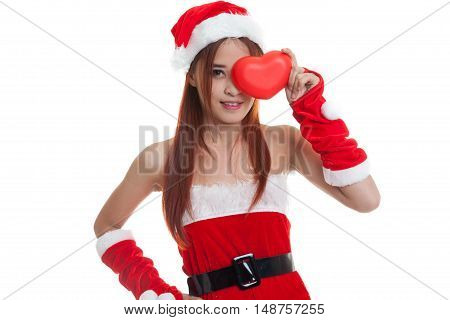 Asian Christmas Santa Claus Girl With Red Heart.