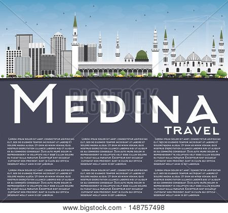 Medina Skyline with Gray Buildings, Blue Sky and Copy Space. Business Travel and Tourism Concept with Historic Buildings. Image for Presentation Banner Placard and Web Site.