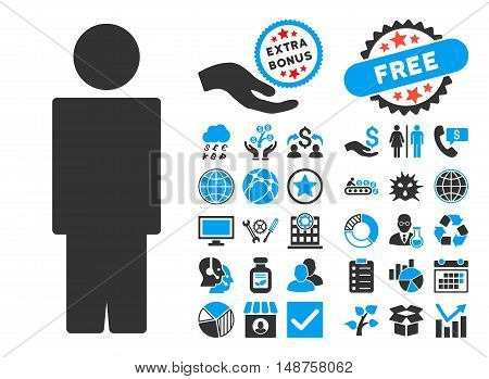 Person pictograph with bonus elements. Glyph illustration style is flat iconic bicolor symbols, blue and gray colors, white background.