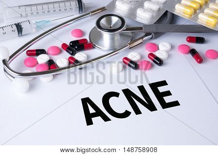 ACNE Background of Medicaments Composition Stethoscope mix therapy drugs doctor flu antibiotic pharmacy medicine medical poster