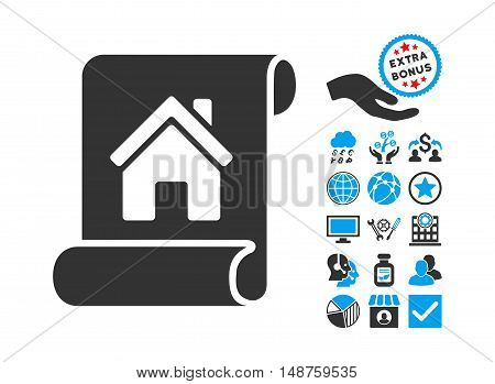 Realty Description Roll pictograph with bonus icon set. Glyph illustration style is flat iconic bicolor symbols, blue and gray colors, white background.
