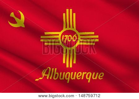 Flag of Albuquerque is the most populous city in New Mexico United States. 3D illustration