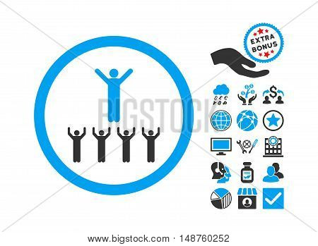 Religion Adepts pictograph with bonus pictograph collection. Glyph illustration style is flat iconic bicolor symbols, blue and gray colors, white background.