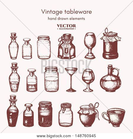 Vector collection bottles and jars ink hand drawn. Vintage decorative glass canning jars isolated on white vector illustration