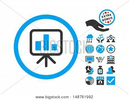 Slideshow Screen icon with bonus pictogram. Glyph illustration style is flat iconic bicolor symbols, blue and gray colors, white background.