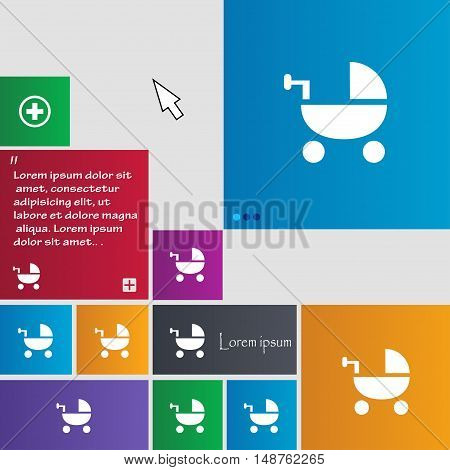 Baby Stroller Icon Sign. Buttons. Modern Interface Website Buttons With Cursor Pointer. Vector