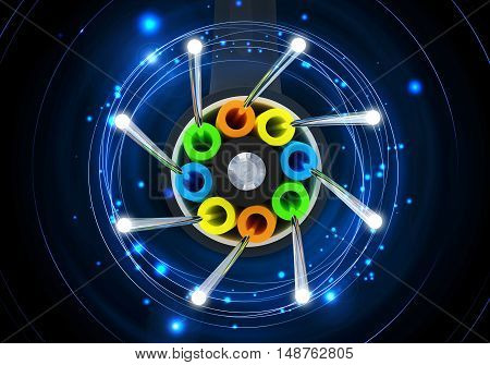 Fiber Optical Link 3D Concept Illustration. Fiber Optic Cable. Internet and Networking Conceptual Image.