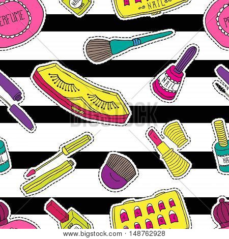 Hand drawn fashion cosmetics pattern, seamless. Beauty and makeup stickers, patches, pins in cartoon comic style.