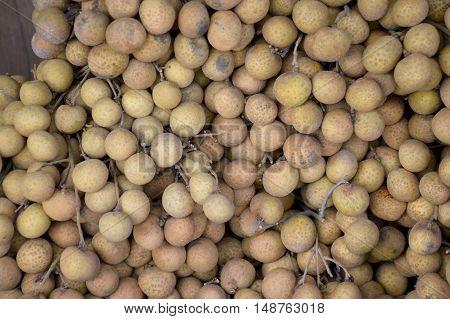 close up fresh Longan fruit in market