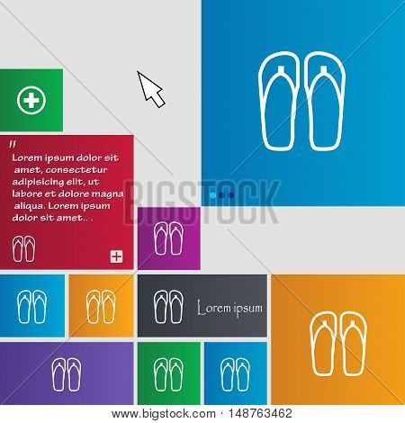 Flip-flops. Beach Shoes. Sand Sandals Icon Sign. Buttons. Modern Interface Website Buttons With Curs