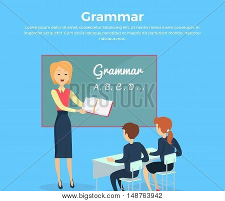 Kids grammar teaching concept banner. Vector illustration in flat design. Couple of kids, boy ang girl, studying grammar, sitting at their desks with the teacher in the classroom. School ABC lesons.