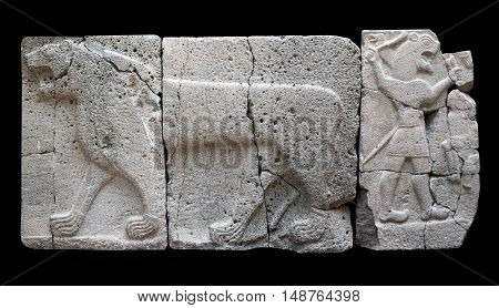 ISTANBUL, TURKEY - OCTOBER 30, 2015: Ancient stone bas-relief with Lion (Aslan) of late Hittite period in the Istanbul Archaeology Museum.