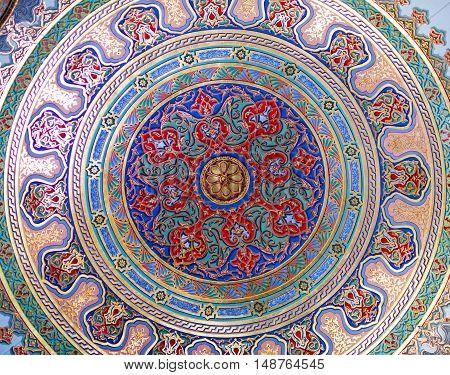 ISTANBUL, TURKEY - OCTOBER 31, 2015: Ceiling decoration of Topkapi Palace in Istanbul, Turkey.
