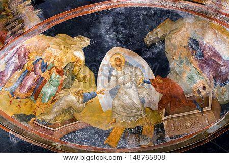 ISTANBUL, TURKEY - OCTOBER 31, 2015: The Anastasis fresco in the Church of the Holy Saviour in Chora (Kariye Camii).