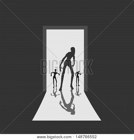 Zombie silhouette comes into the house through the open door. Shadows in dark room. Halloween theme background