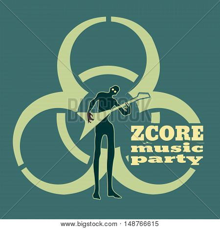 Zombie silhouette. Biohazard music party. Undead man play on guitar. Halloween theme background