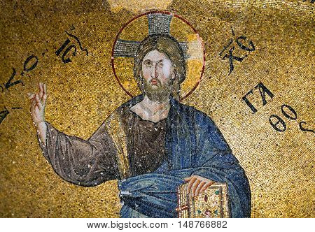 ISTANBUL, TURKEY - OCTOBER 31, 2015: Mosaic depicting Christ in Pammakaristos Church.