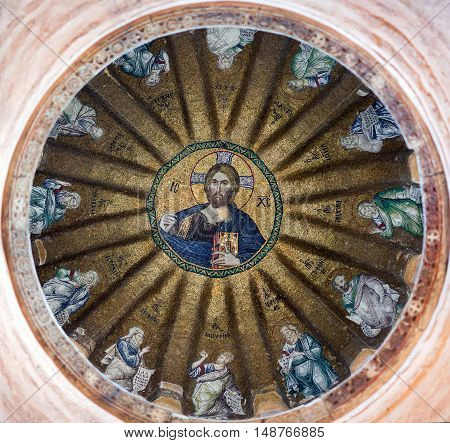 ISTANBUL, TURKEY - OCTOBER 31, 2015: View of the central dome with Christ Pantocrator surrounded by the prophets of the Old Testament in Pammakaristos Church in Istanbul.