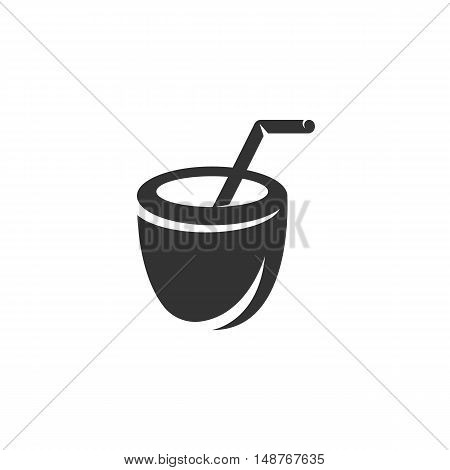 Coconut Drink Icon isolated on a white background. Coconut drink vector logo - stock vector