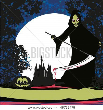 Grim scary reaper at night , vector illustration