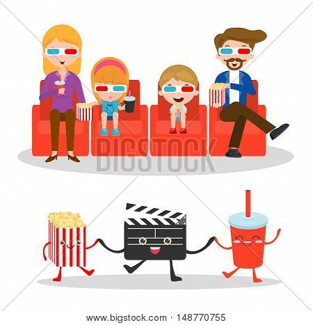 family watching movie, happy family to a movie together,movie and clapper and popcorn on white background, Illustration of family watching a movie in 3D, cinema