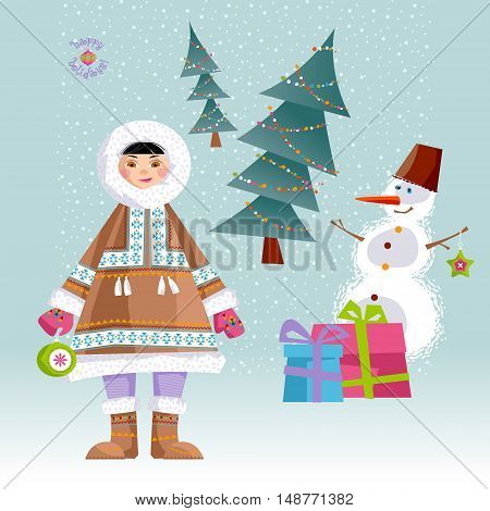 Eskimo Child and a Snowman. Vector illustration.