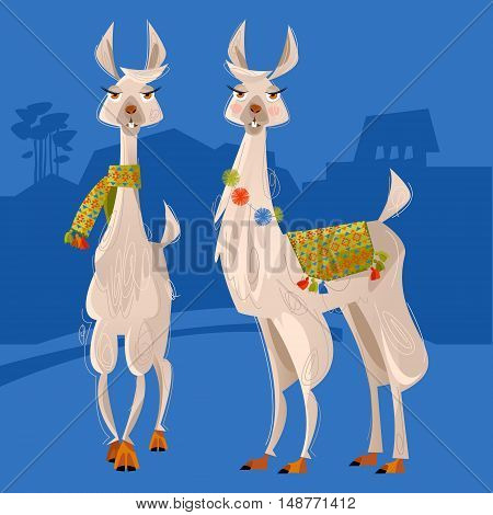 Two lamas. south America. Alpaca. Vector illustration.