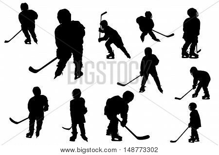 Silhouettes of hockey players isolated on white background.