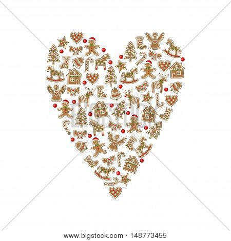 Xmas gingerbread cookies - xmas tree, candy cane, angel, gingerbread man, star, heart, deer. Christmas heart decoration on white background. Cute winter holidays card.