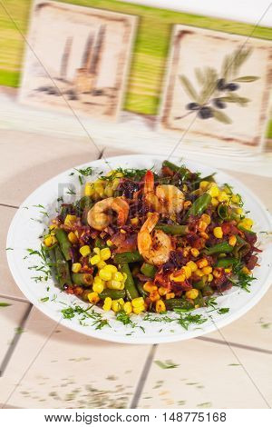 Hot salad with shrimp corn green beans red onion stewed fried Italian kitchen tiles Provence vegetable stew