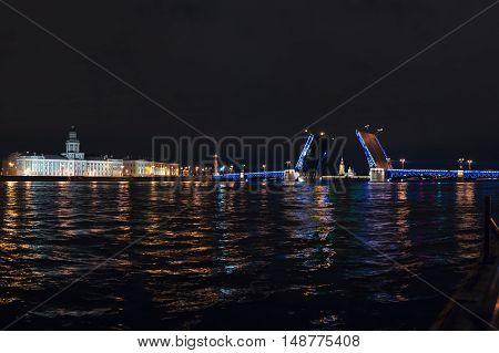 Iconic Palace drawbridge with panorama of Vasilievsky Island and Kunstkamera, Saint Petersburg