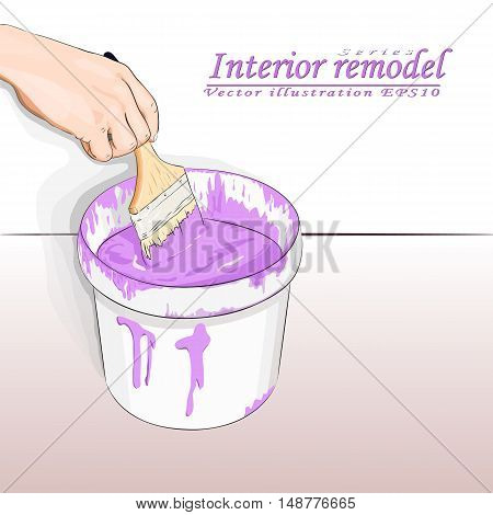 human hand dunks brush in a bucket of paint, vector illustration