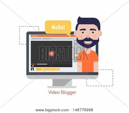 Man Blogger Video Computer. Concept blogging.Digital blog. Flat Vector Illustration