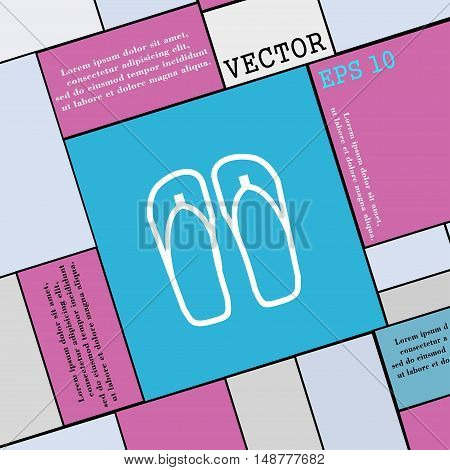 Flip-flops. Beach Shoes. Sand Sandals Icon Sign. Modern Flat Style For Your Design. Vector