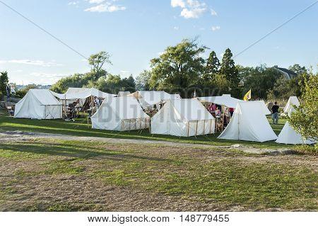 Fairhaven Massachusetts USA - September 24 2016: Fairhaven Village Militia recreating a Revolutionary War encampment at Fort Phoenix in Fairhaven Massachusetts