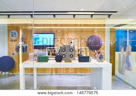 HONG KONG - CIRCA JANUARY, 2016: Bang & Olufsen store at a shopping mall in Hong Kong. Bang & Olufsen is a Danish consumer electronics company.