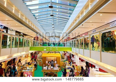 HONG KONG - CIRCA JANUARY, 2016: inside of a shopping mall in Hong Kong. Shopping is a widely popular social activity in Hong Kong.