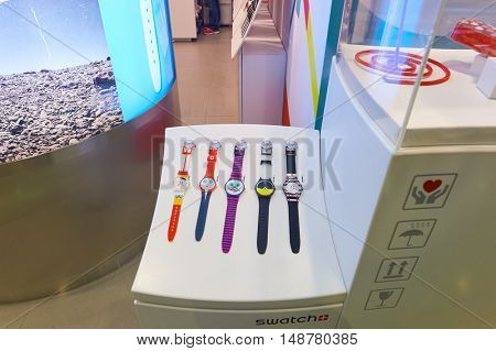 HONG KONG - CIRCA JANUARY, 2016: Swatch store in Hong Kong. Swatch is a Swiss watchmaker founded in 1983 by Nicolas Hayek, and is subsidiary of The Swatch Group.