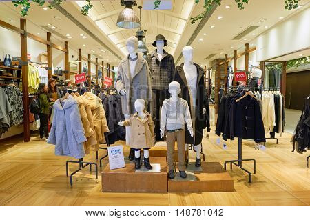HONG KONG - CIRCA JANUARY, 2016: Global Work store at shopping mall in Hong Kong. Shopping is a widely popular social activity in Hong Kong.