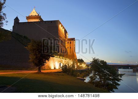 Summer night at the old castle of Herman. Narva, Estonia