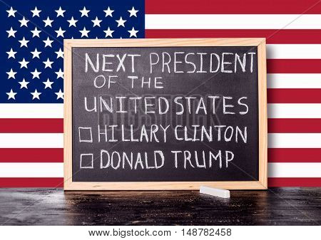 American Election Concept With Flag And Handwriting Text Next President Of United States Donald Trum