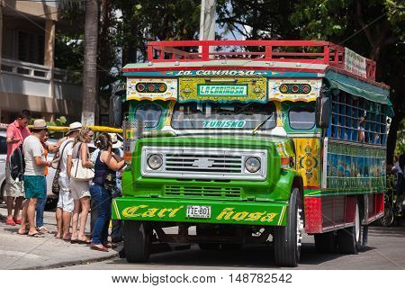 Cartagena, Colombia - July 27,  2015: Colorful traditional rural bus from Colombia called chiva