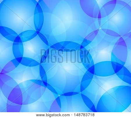 Blue vector background with transparent intersecting circles.
