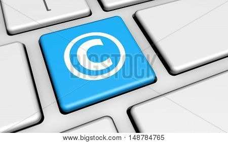 Digital copyrighting laws conceptual 3D illustration with copyright symbol and icon on a computer key.