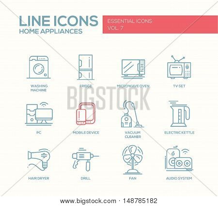 Home Appliances - modern vector simple line design icons and pictograms set. Washing machine, fridge, microwave oven, tv set, pc, mobile device, vacuum cleaner, electric kettle, hair dryer, drill, fan, audio system